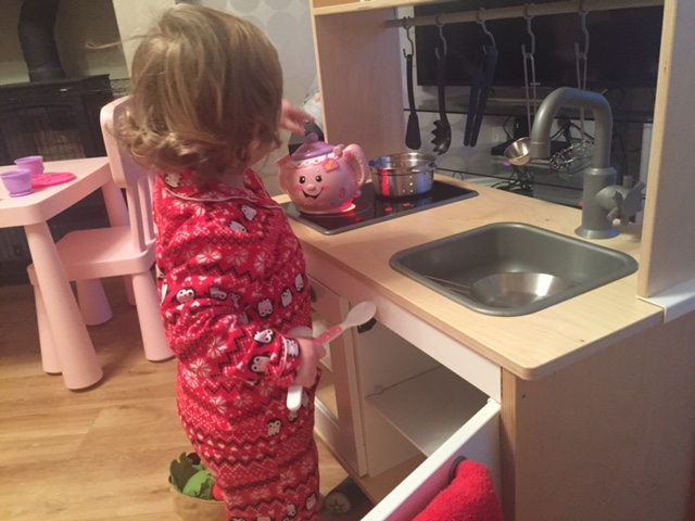 Ikea kitchen complete with pots, pans and play food