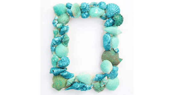 Glitter seashell frame arts and crafts for kids hennathome